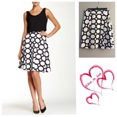 """Circle Print A-Line Skirt 8 & 14 Circle print with an exposed zip closure A-line Skirt.  - Banded waist - Exposed back zip closure - Lined - Approx. 23"""" length Fiber Content: Shell: 97% cotton, 3% spandex Lining: 100% polyester Amanda & Chelsea Skirts A-Line or Full"""