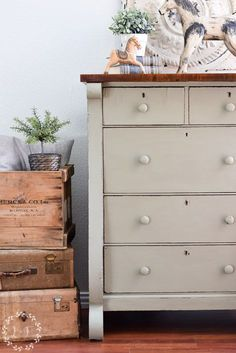 Fusion Mineral Paint Color of the Month | Lichen Painted Chest of Drawers