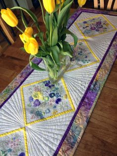 Flower Pounding Technique + Quilted Floral Table Runner | Positively Splendid {Crafts, Sewing, Recipes and Home Decor}