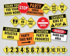 Construction Party Printables, Construction Birthday Decorations, Dump Truck Birthday Party, Caution Sign, Construction Clipart