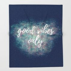 Positive Inspiration Quote Blanket Grey, Soft Fleece Blanket Adult, Navy Good Vibes Only Gear, Dorm Decor For Girls Room Inspirational Quote
