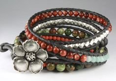 Five Wrap Gemstone Bracelet with Amazonite Pink Coral by OutsideOn, $93.00