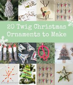 20 twig Christmas ornaments that are easy to make...get outside and gather up your craft supplies. An eco-friendly Christmas craft idea for kids to make.