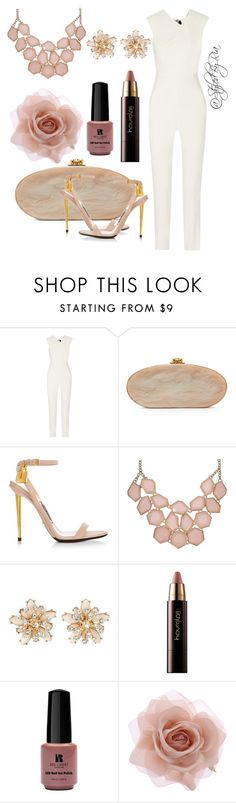 """""""nude theme"""" by stylebyria ❤ liked on Polyvore featuring Roland Mouret, Edie Parker, Hourglass Cosmetics, Red Carpet Manicure, Accessorize, women's clothing, women, female, woman and misses"""