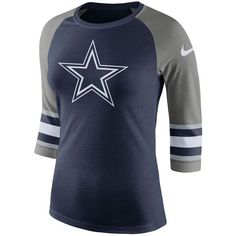 a422f8fe7da Nike Women's Dallas Cowboys Stripe Sleeve Raglan Triblend T-Shirt ($40) ❤  liked