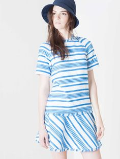 Gored skirt in striped stretch basketweave