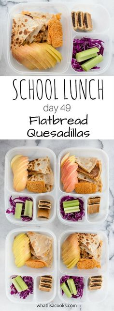 School lunch day 49 - flatbread quesadillas - from http://whatlisacooks.com packed in #Easylunchboxes containers