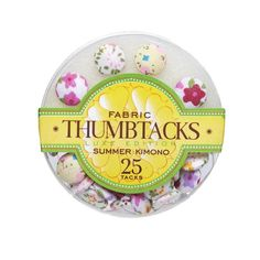 Dress up your bulletin board with these cute fabric thumbtacks. The fun and whimsy of this color pallet are expressed in these floral patterned tacks. Due to fabric variations, patterns will differ from tack to tack. 13 mm diameter 25 tacks per set Round, clear packaging Like the Summer Kimono Thumbtack Set? We have m Summer Kimono, Kimono Fabric, Desk Set, Color Pallets, Fabric Covered, Color Patterns, Decorative Plates, Invitations, Floral
