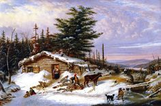 """Settler's Log House"" by Cornelius Krieghoff (1815-1872)"