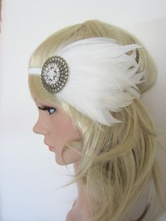 1920s+white+and+cream+feather+flapper+headband+by+PeacockandLotus,+$35.00