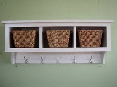 For the girls' bathroom.  Cubby Wall Shelf Country Shelf for Baskets Bath Or Entryway W Hooks