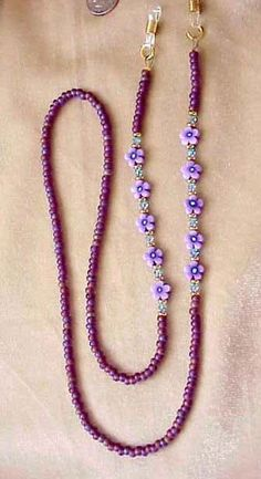 Items similar to Purple Flower and Crystal Eyeglass Chain on Etsy. Purple Flower and Crystal Eyeglass Chain Diy Jewellery Chain, Diy Jewelry, Purple Jewelry, Glass Necklace, Diy Necklace, Beaded Lanyards, Beaded Jewelry Patterns, Bijoux Diy, Schmuck Design