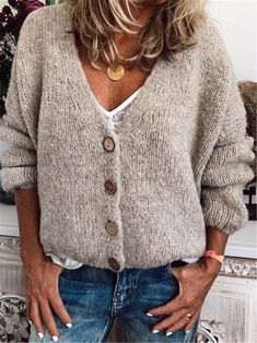 Casual Cotton-Blend V Neck Cardigan-Outerwear, Beige / XL Look Fashion, Fashion Outfits, Plus Size Outerwear, V Neck Cardigan, V Neck Sweaters, Winter Stil, Cardigans For Women, Women's Cardigans, Casual Tops