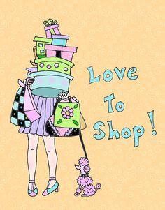 Fashion Art, Fashion diva, Love to Shop, 8x10 print by HamiltonArtandDesign