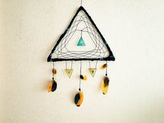 Dream Catcher - Exotic Triangle - With Turquoise and Yellow Parrot Feathers, Black Triangle Frame and Nett