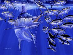 Blue Marlin Round Up - Painting by Carey Chen