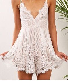 This stunning lace overlay romper features a full nude lining, beautiful lace detail, and lace up back. It's perfect for a romantic weekend date, or a night out dancing with the girls! Tired of picking out an entire outfit? This boho chic one piece is the answer, one piece and your done! Content + Care -Lace, poly lining -hand wash cold hang dry, or dry clean Size + Fit Runs true to size S 0-4 M 6-8 L 10-12