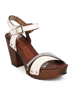 New-Women-Nature-Breeze-Vint-02-Leatherette-Open-Toe-Stud-Wood-Heel-Clog-Sandal