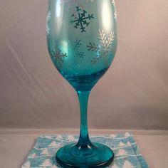 Holiday wine glass with coordinating coaster/mug rug.