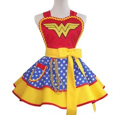 Retro Apron Wonder Woman Apron Cosplay Apron by WellLaDiDaAprons on Etsy