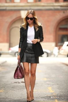 Office Girls — leatherstreetstyle: Leather mini skirt
