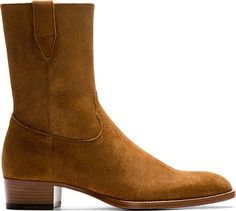 Saint Laurent: Brown Suede Wyatt Cowboy Boots