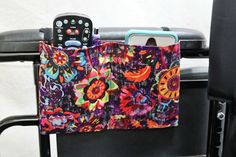 Vintage Flowers Armrest Hanging Cell Phone Holder for a Wheelchair Walker or other Mobility Aides