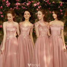 Chic / Beautiful Pearl Pink Bridesmaid Dresses 2018 A-Line / Princess Appliques Pierced Lace Floor-Length / Long Ruffle Backless Wedding Party Dresses