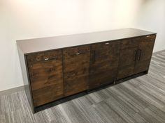 Credenza with thick solid steel top by Timberguy. Credenza, Steel, Cabinet, Storage, Wood, Interior, Furniture, Home Decor, Clothes Stand