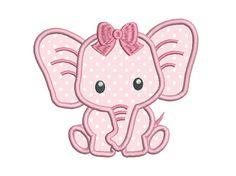 Baby Girl Elephant Applique Machine by RosiedayEmbroidery on Etsy