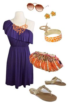 Clemson Girl: Clemson Game day Look: Coral me Orange & Purple  Totally love this outfit! Must recreate!