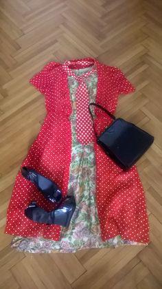 Vintage 60s silk dress, red polka dot overdress, red tie, Vivienne Westwood Melissa platforms, vintage 50s patent handbag Dress Red, Silk Dress, Vivienne Westwood Melissa, Platforms, Baby Car Seats, Polka Dots, Tie, Modern, Clothes