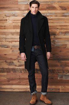 Cuffed jeans, sweater, wool coat.  Warm wardrobe for men.  Men's fashion