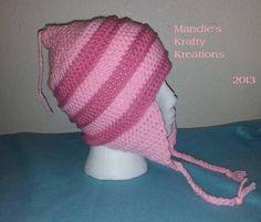 (4) Name: 'Crocheting : Pink Stripe Hat