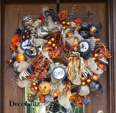 Extra Large Halloween Wreath with a BIG HAIRY SPIDER by decoglitz