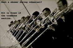 This happened to me when I was in the back of the Viola section at camp... You may not produce the most spit (oh sorry, I mean condensation), but you certainly fling it out there! At least they sounded fantastic!  -violapower Large Group Photos, Band Jokes, Band Nerd, Classically Trained, Trombone, Country Music, Musicals, Funny Memes, Shit Happens