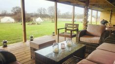 Covered wet weather area for glamping guests to enjoy come rain or shine
