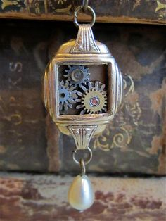 Steampunk necklace - Pull - Steampunk watch parts - Repurposed Art