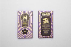 Marou chocolate package design. love the gold color!