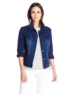 Liverpool Women's Classic Button Front Jacket in Powerflex Knit Denim, Dark Americana, Small