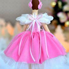 Pink ballerina. OksanaGryts.etsy.com #ballerina #ballet #pink #tilda #tutu #doll #tildadoll #interiordecor #wings