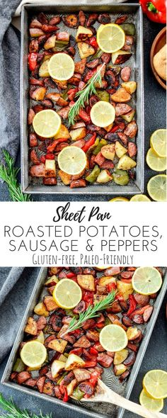 Sheet Pan Roasted Potatoes, Sausage & Peppers! An easy, one-pan meal made with only 6 ingredients! Gluten-free, dairy-free and paleo-friendly! via @joyfoodsunshine