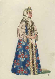 Russian traditional costume of a married woman from Arkhangelsk Province, Russian Folk, Russian Art, Historical Costume, Historical Clothing, Fashion History, Fashion Art, Russian Culture, Court Dresses, Theatre Costumes
