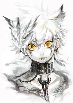 Anime picture 707x1000 with  original hujimogeo single tall image short hair looking at viewer simple background white yellow eyes white hair animal ears cat ears tattoo monochrome close pale skin expressionless male chain collar