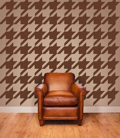 Sooo cool, and manly. 3d Wall, Wall Decals, Office Mural, Modern Nursery Decor, Fashion Wall Art, Wall Patterns, Retro, Houndstooth, Printing On Fabric
