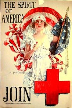 WW I Red Cross 'Spirit of America' Flag Poster