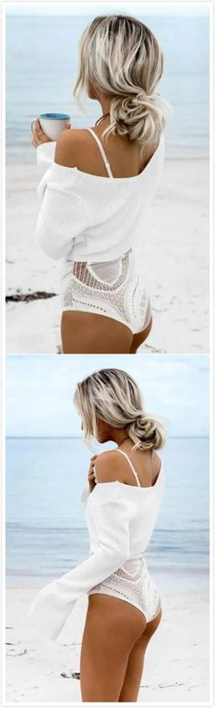V Neck Flare Sleeve Cropped Knit Sweater Holiday Outfits, Summer Outfits, Boho Fashion, Fashion Outfits, Cropped Knit Sweater, Vogue, Boho Hairstyles, Beach Hair, Korean Outfits