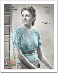 1940s Lady's V-Neck Sweater Vintage Knitting Pattern - PDF Knitting Pattern…