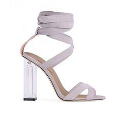 Ariel Perspex High Heels in Grey Faux Suede