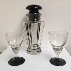 Art Deco cocktail shaker & glasses set Art Nouveau, Pink Art, Cocktail Shaker, Deco, Perfume Bottles, Cocktails, Glasses, Ebay, Art Deco